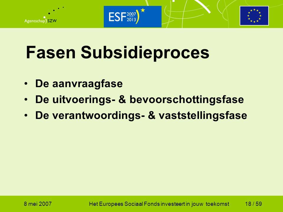 Fasen Subsidieproces De aanvraagfase