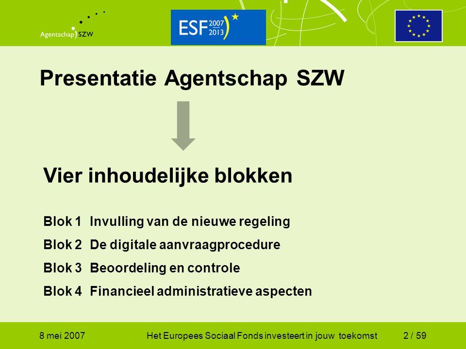 Presentatie Agentschap SZW