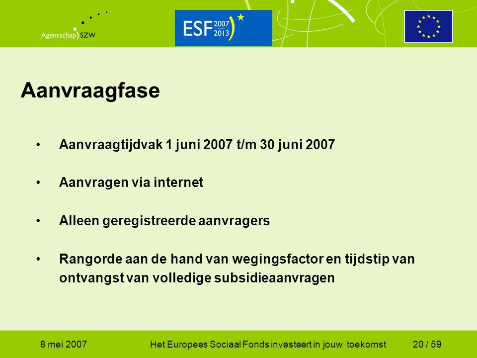 Aanvraagfase Aanvraagtijdvak 1 juni 2007 t/m 30 juni 2007