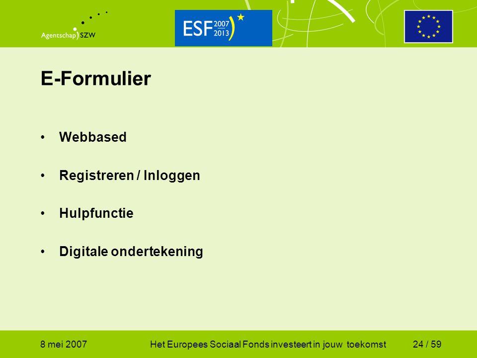 E-Formulier Webbased Registreren / Inloggen Hulpfunctie