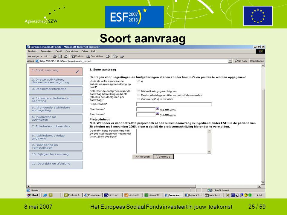 Soort aanvraag 8 mei 2007 Het Europees Sociaal Fonds investeert in jouw toekomst