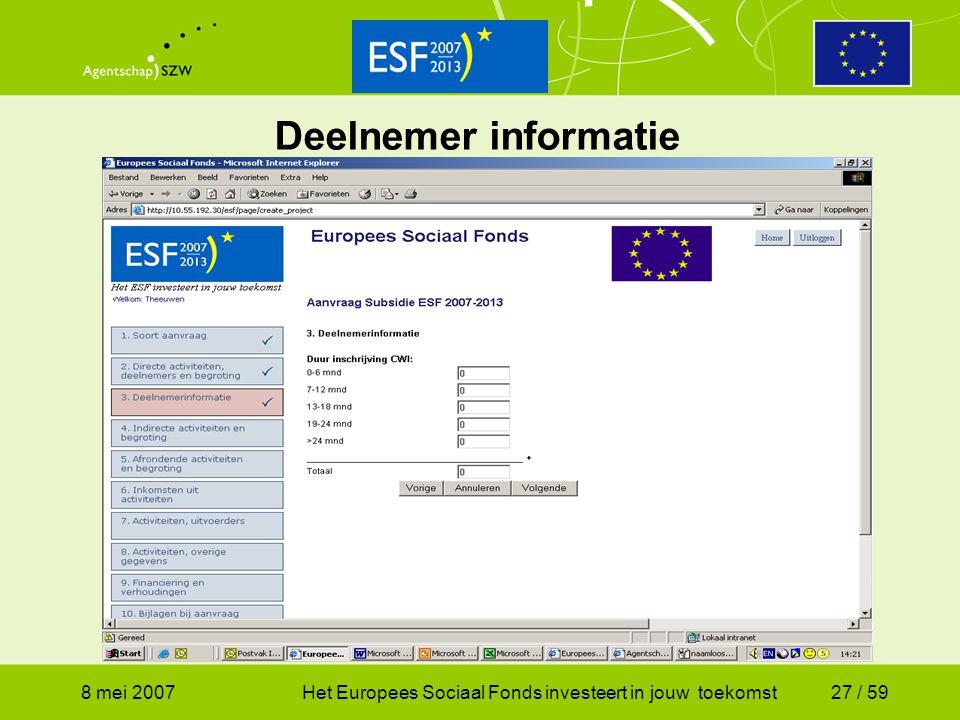 Deelnemer informatie 8 mei 2007