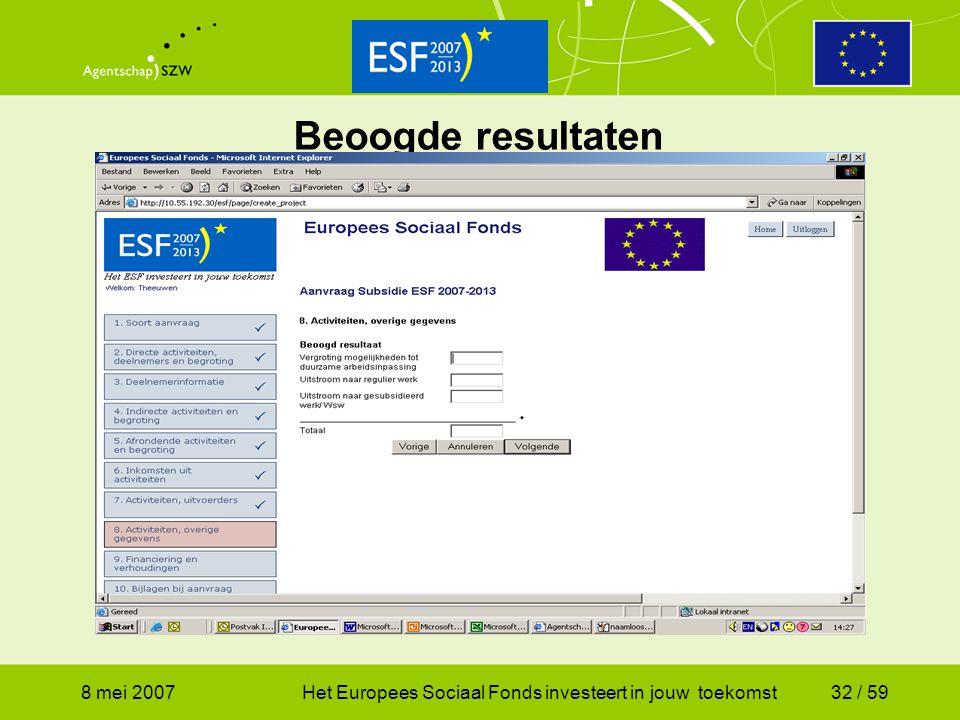 Beoogde resultaten 8 mei 2007