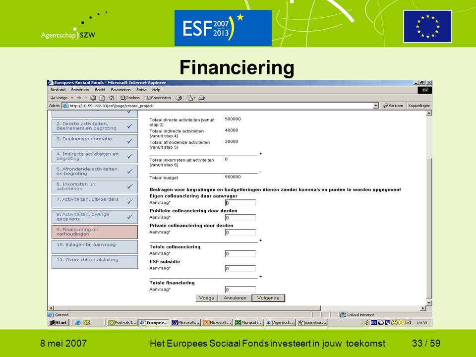 Financiering 8 mei 2007 Het Europees Sociaal Fonds investeert in jouw toekomst