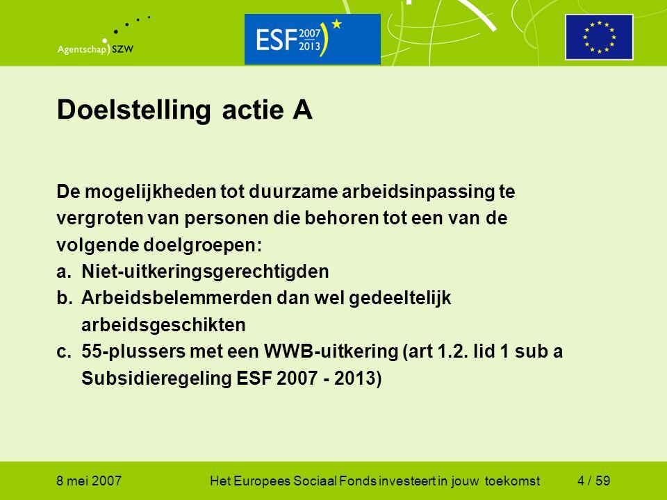 Doelstelling actie A De mogelijkheden tot duurzame arbeidsinpassing te