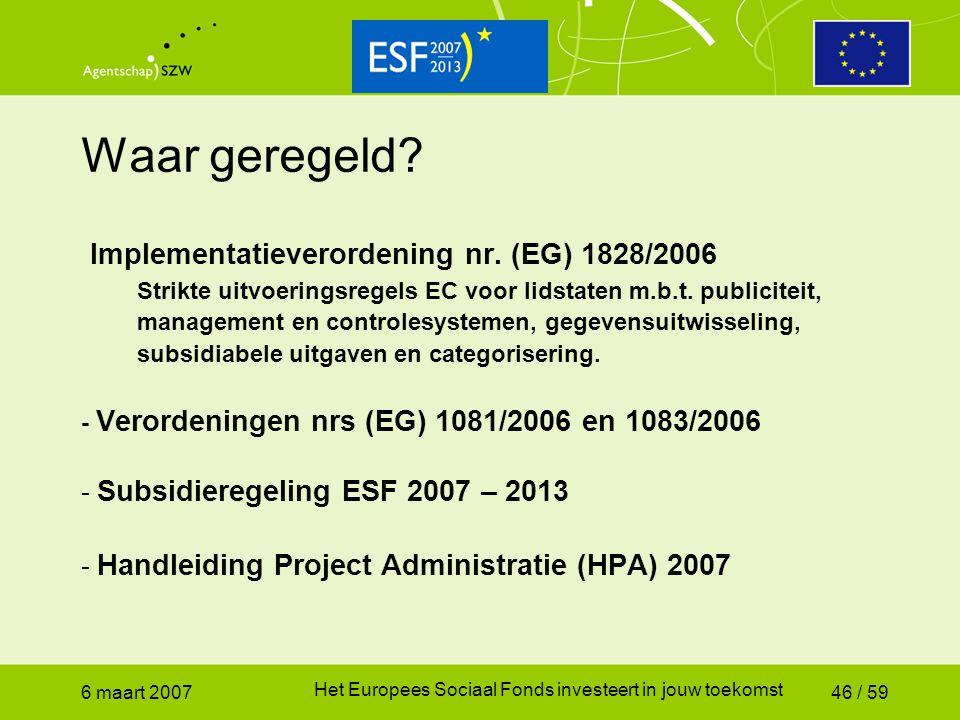 Waar geregeld Implementatieverordening nr. (EG) 1828/2006