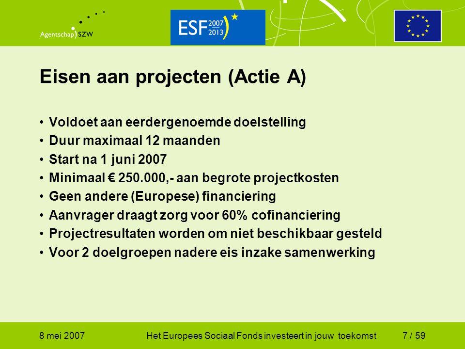 Eisen aan projecten (Actie A)