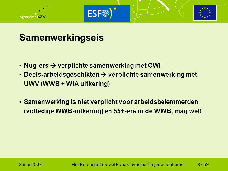 Samenwerkingseis Nug-ers  verplichte samenwerking met CWI