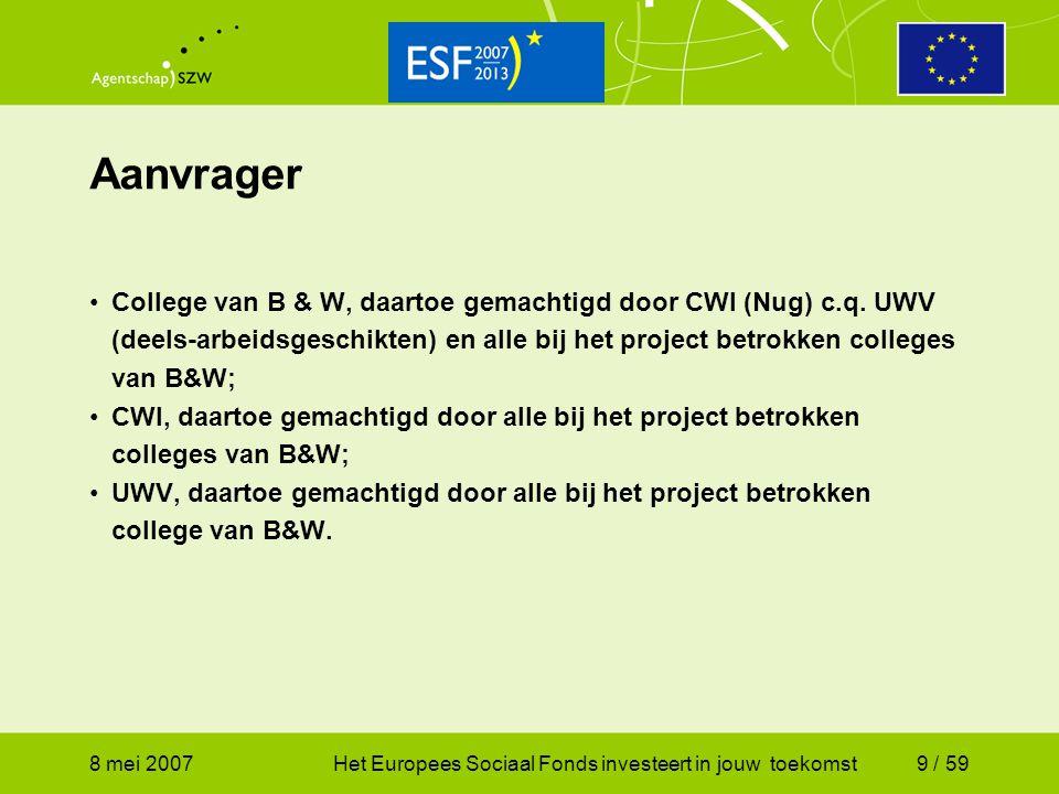 Aanvrager College van B & W, daartoe gemachtigd door CWI (Nug) c.q. UWV (deels-arbeidsgeschikten) en alle bij het project betrokken colleges van B&W;
