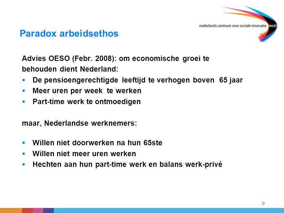 Paradox arbeidsethos Advies OESO (Febr. 2008): om economische groei te