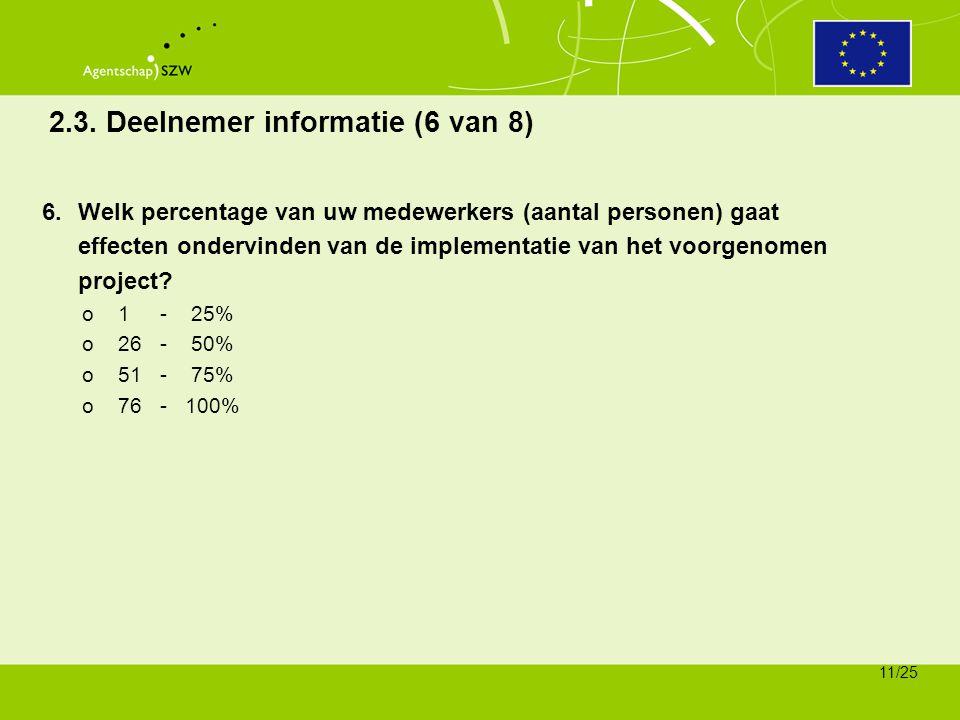 2.3. Deelnemer informatie (6 van 8)