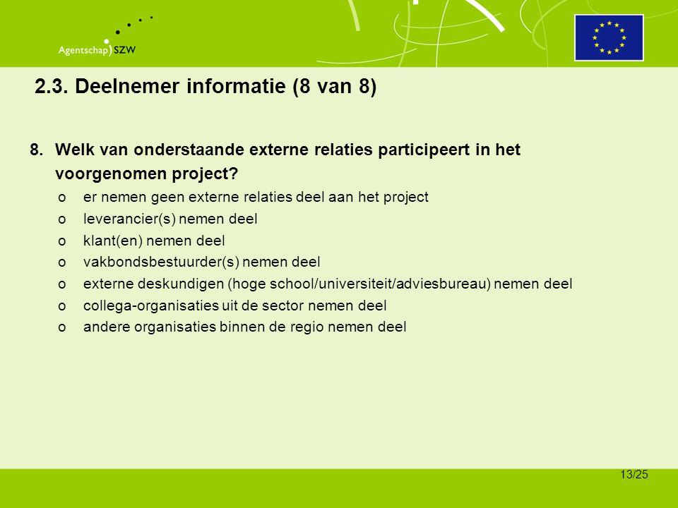 2.3. Deelnemer informatie (8 van 8)