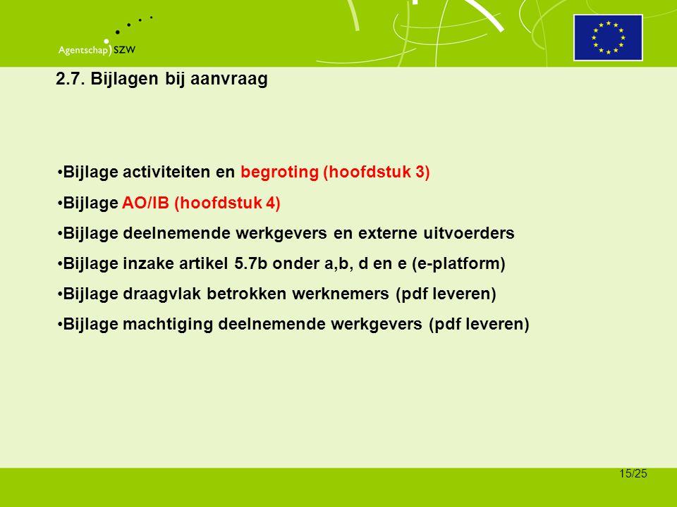 2.7. Bijlagen bij aanvraag Bijlage activiteiten en begroting (hoofdstuk 3) Bijlage AO/IB (hoofdstuk 4)