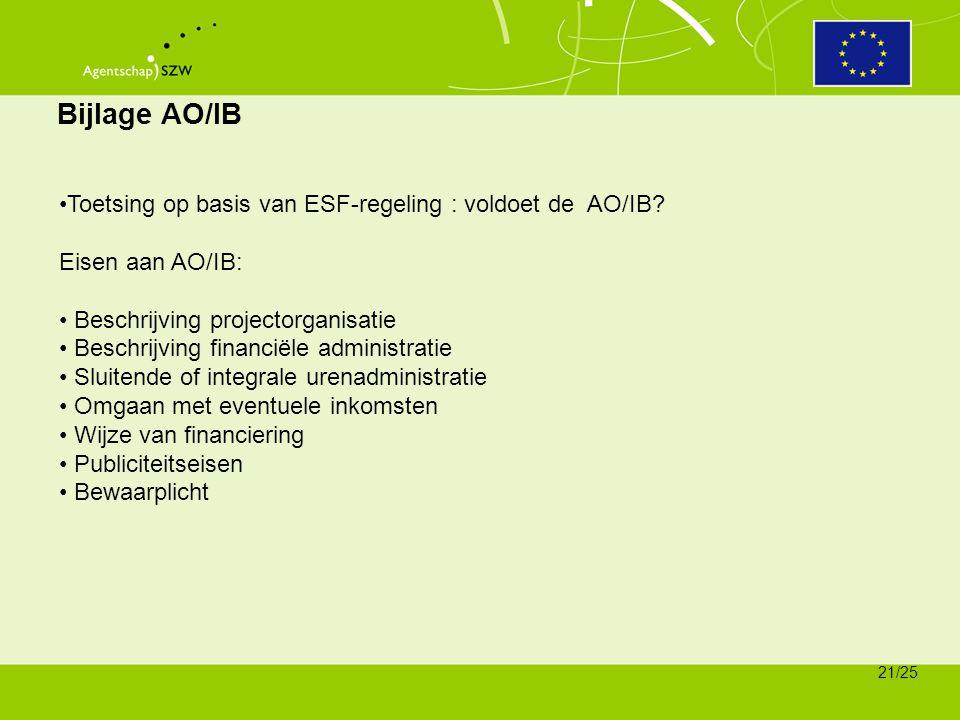 Bijlage AO/IB Toetsing op basis van ESF-regeling : voldoet de AO/IB