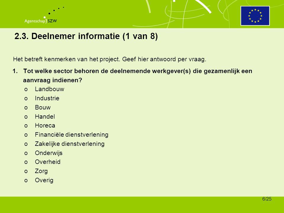 2.3. Deelnemer informatie (1 van 8)