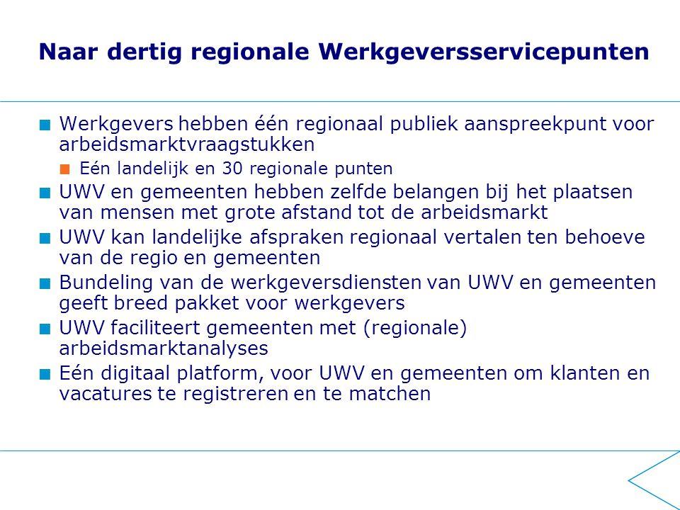 Naar dertig regionale Werkgeversservicepunten
