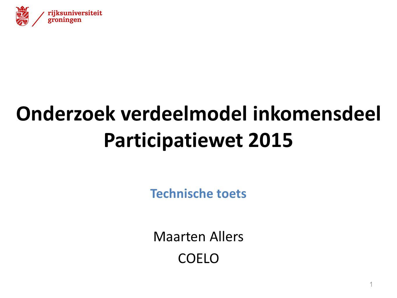 Onderzoek verdeelmodel inkomensdeel Participatiewet 2015