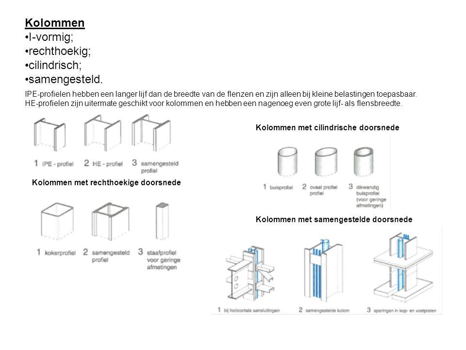 Kolommen I-vormig; rechthoekig; cilindrisch; samengesteld.