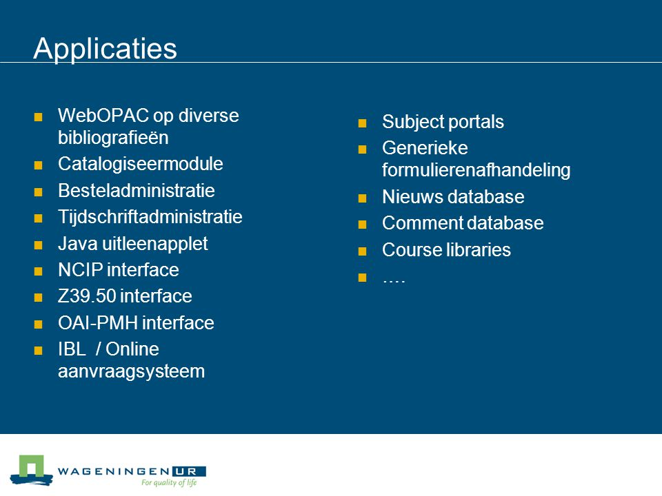 Applicaties WebOPAC op diverse bibliografieën Subject portals