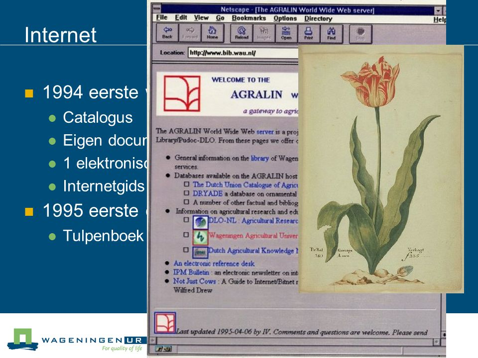 Internet 1994 eerste website - AGRALIN 1995 eerste e-book Catalogus