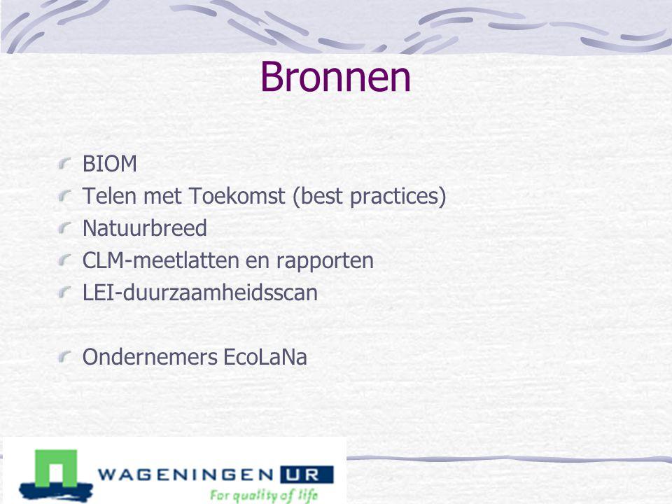 Bronnen BIOM Telen met Toekomst (best practices) Natuurbreed