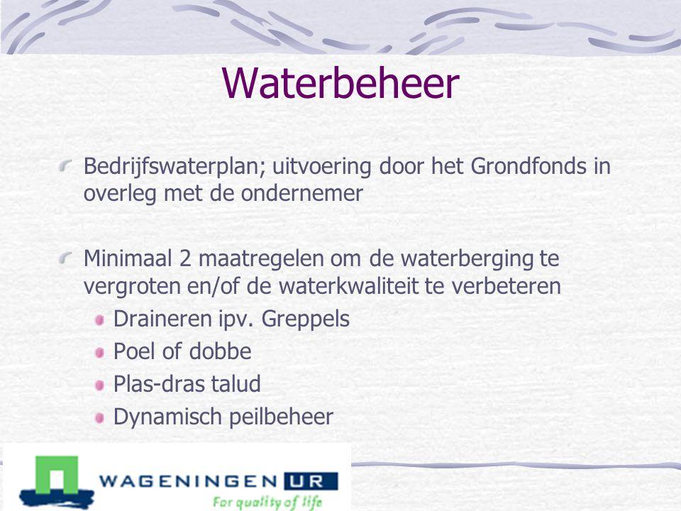 Waterbeheer Bedrijfswaterplan; uitvoering door het Grondfonds in overleg met de ondernemer.