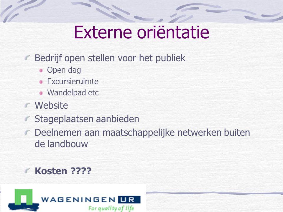 Externe oriëntatie Bedrijf open stellen voor het publiek Website