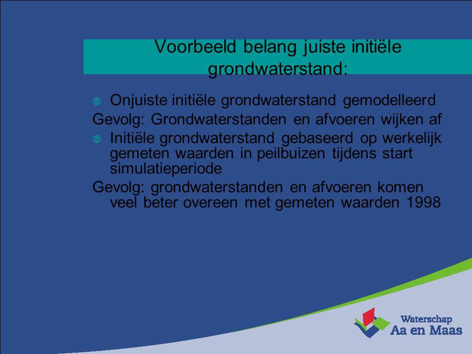 Voorbeeld belang juiste initiële grondwaterstand: