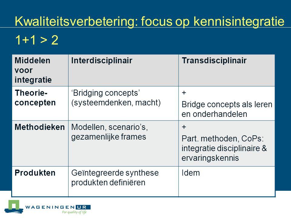 Kwaliteitsverbetering: focus op kennisintegratie 1+1 > 2