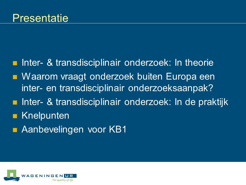 Presentatie Inter- & transdisciplinair onderzoek: In theorie