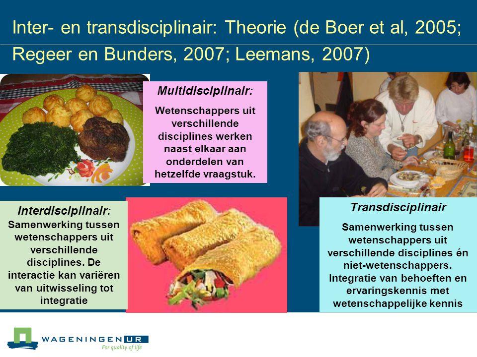Inter- en transdisciplinair: Theorie (de Boer et al, 2005; Regeer en Bunders, 2007; Leemans, 2007)