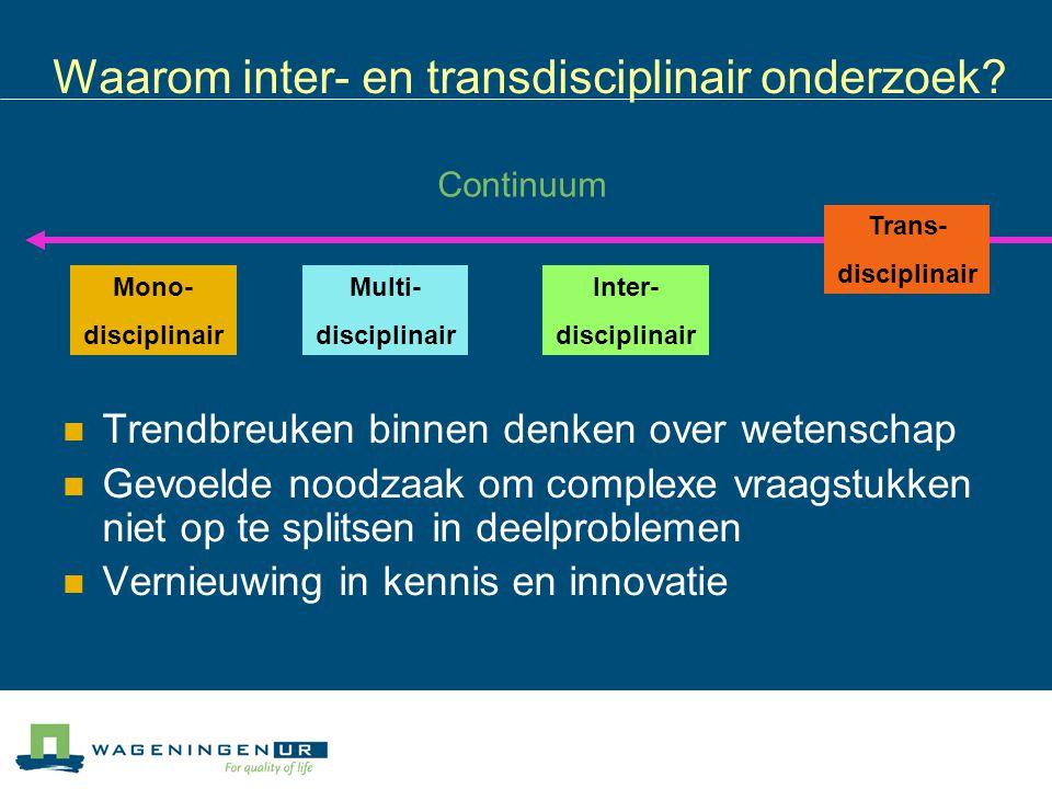 Waarom inter- en transdisciplinair onderzoek