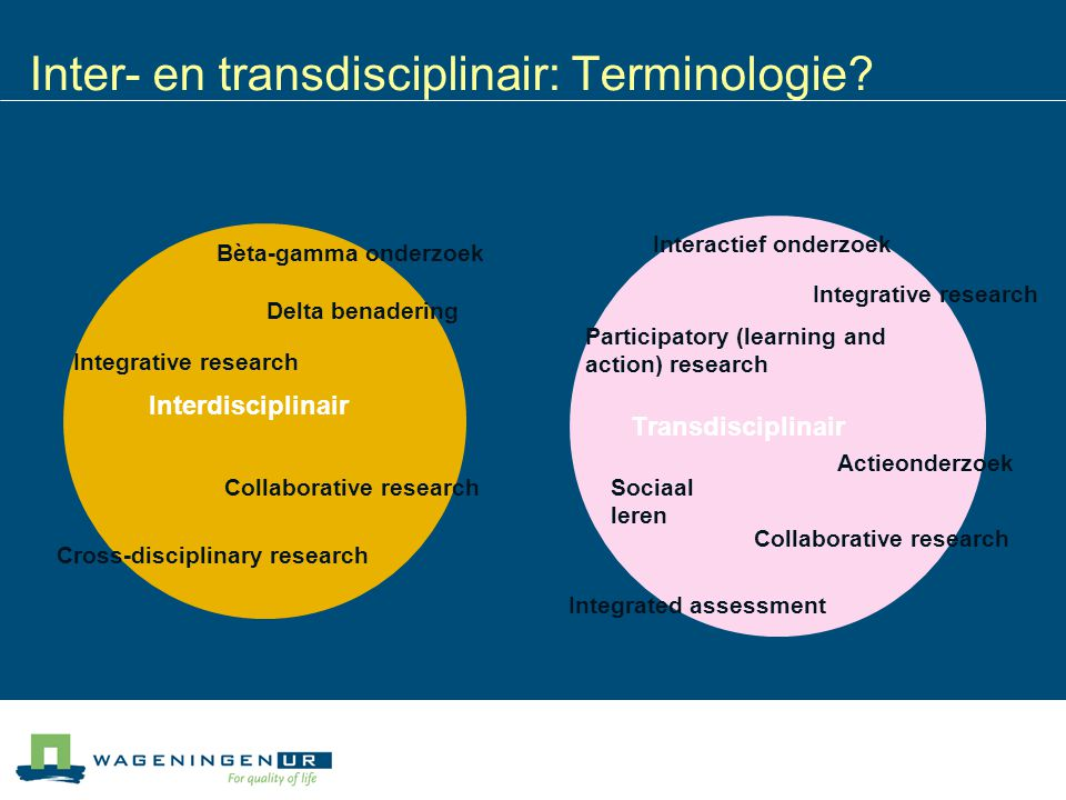 Inter- en transdisciplinair: Terminologie