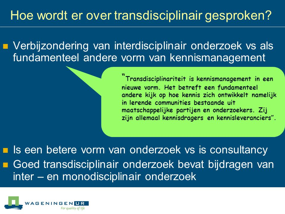 Hoe wordt er over transdisciplinair gesproken