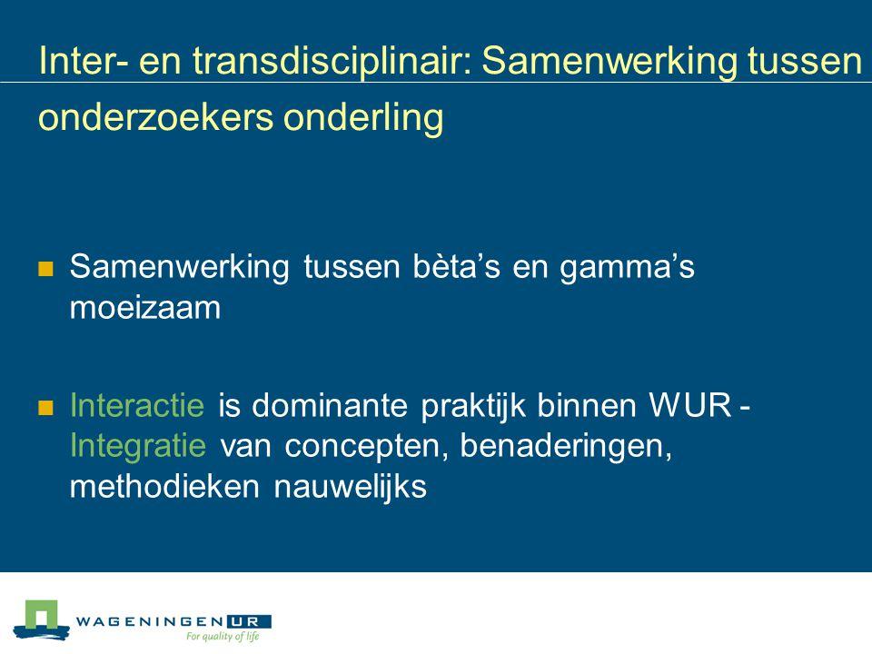 Inter- en transdisciplinair: Samenwerking tussen onderzoekers onderling