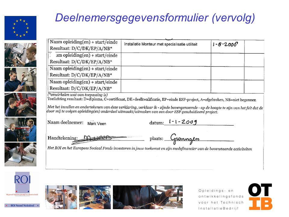 Deelnemersgegevensformulier (vervolg)