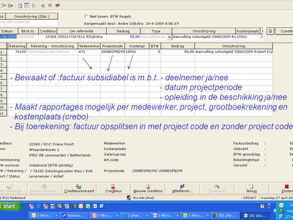 - Bewaakt of :factuur subsidiabel is m. b. t