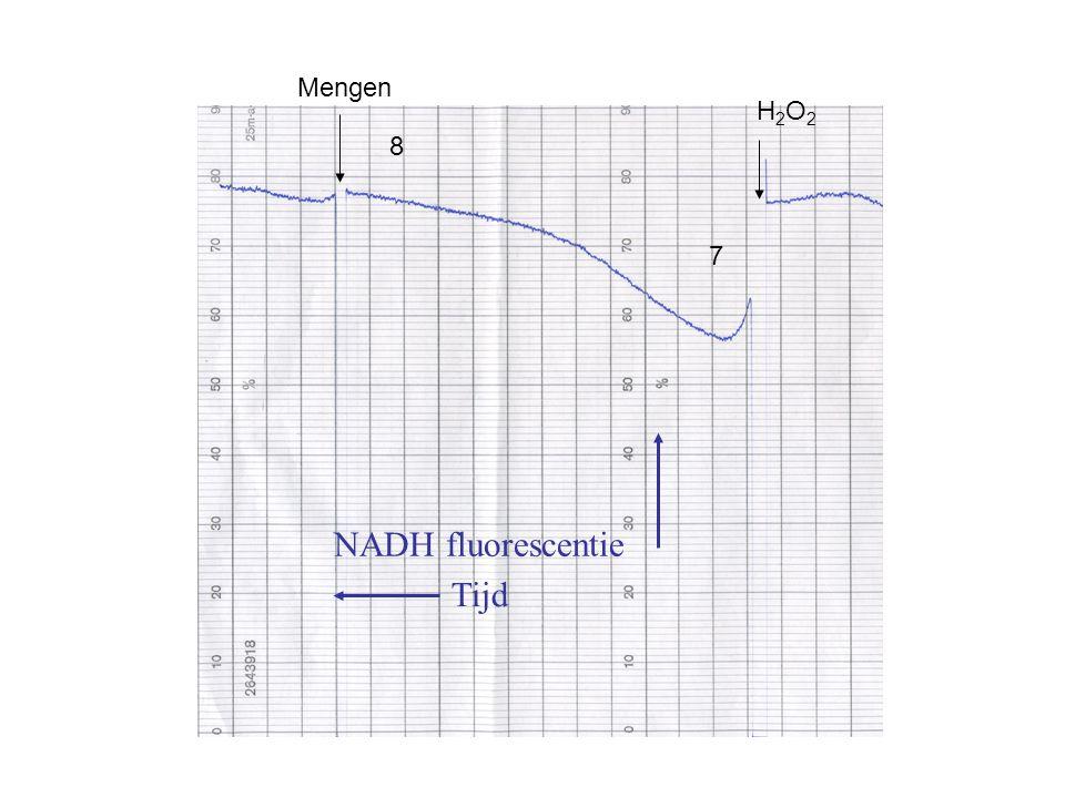 Mengen H2O2 8 7 NADH fluorescentie Tijd