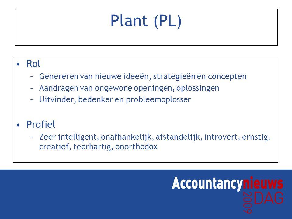 Plant (PL) Rol. Genereren van nieuwe ideeën, strategieën en concepten. Aandragen van ongewone openingen, oplossingen.