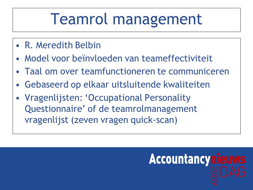 Teamrol management R. Meredith Belbin