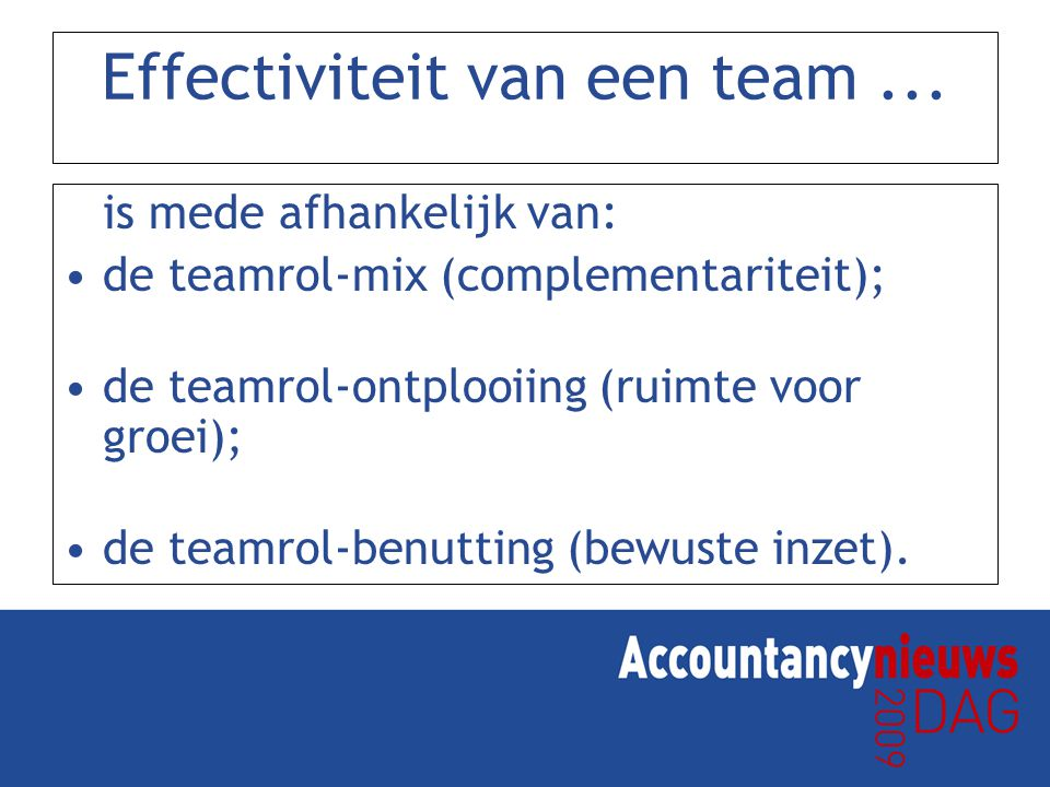 Effectiviteit van een team ...