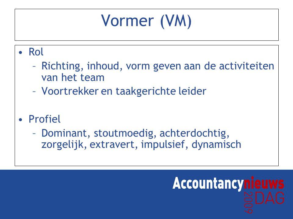 Vormer (VM) Rol. Richting, inhoud, vorm geven aan de activiteiten van het team. Voortrekker en taakgerichte leider.