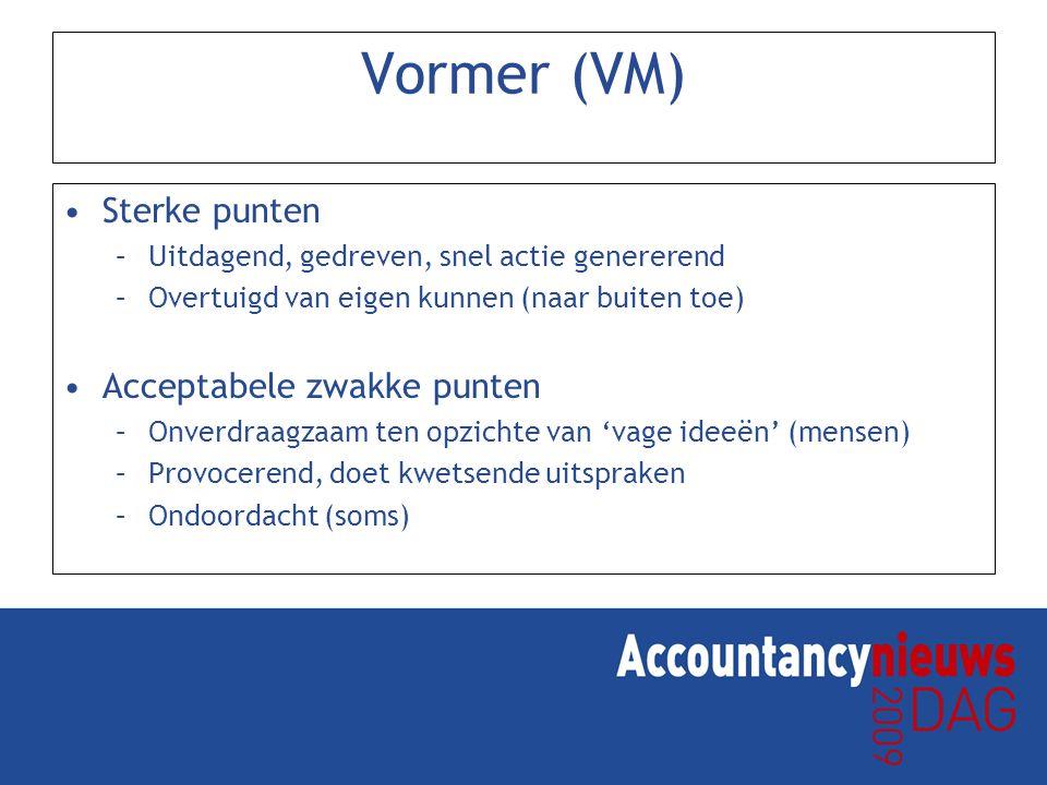 Vormer (VM) Sterke punten Acceptabele zwakke punten