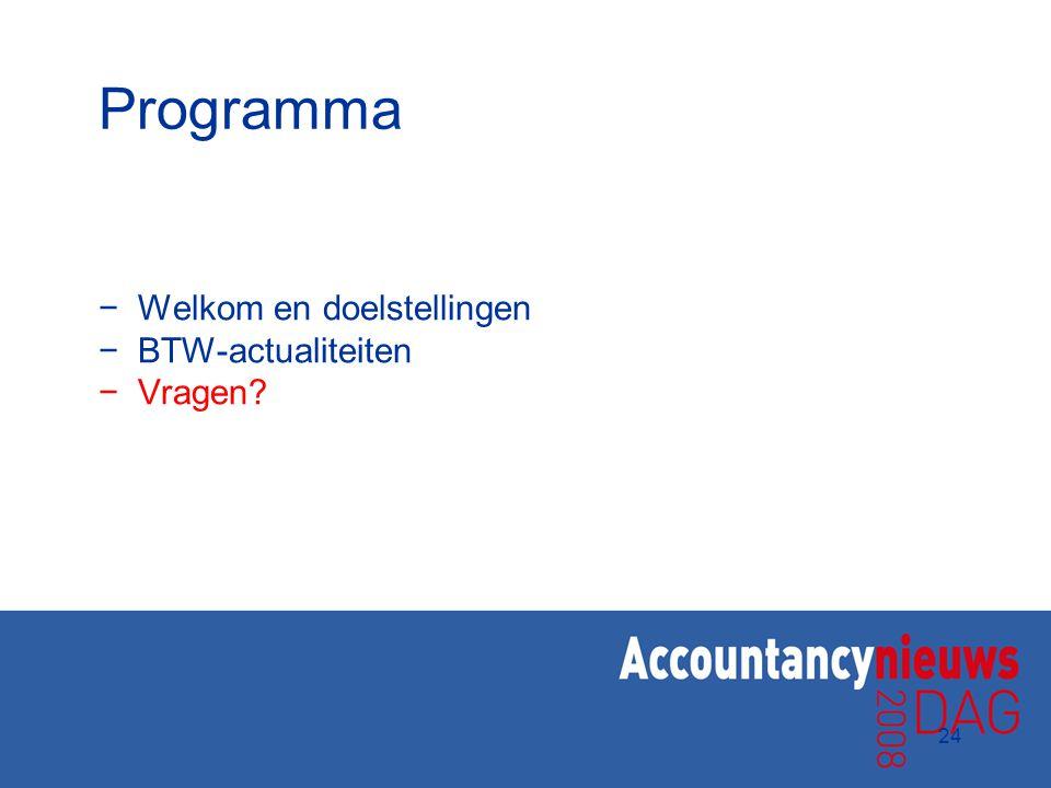Programma Welkom en doelstellingen BTW-actualiteiten Vragen 24