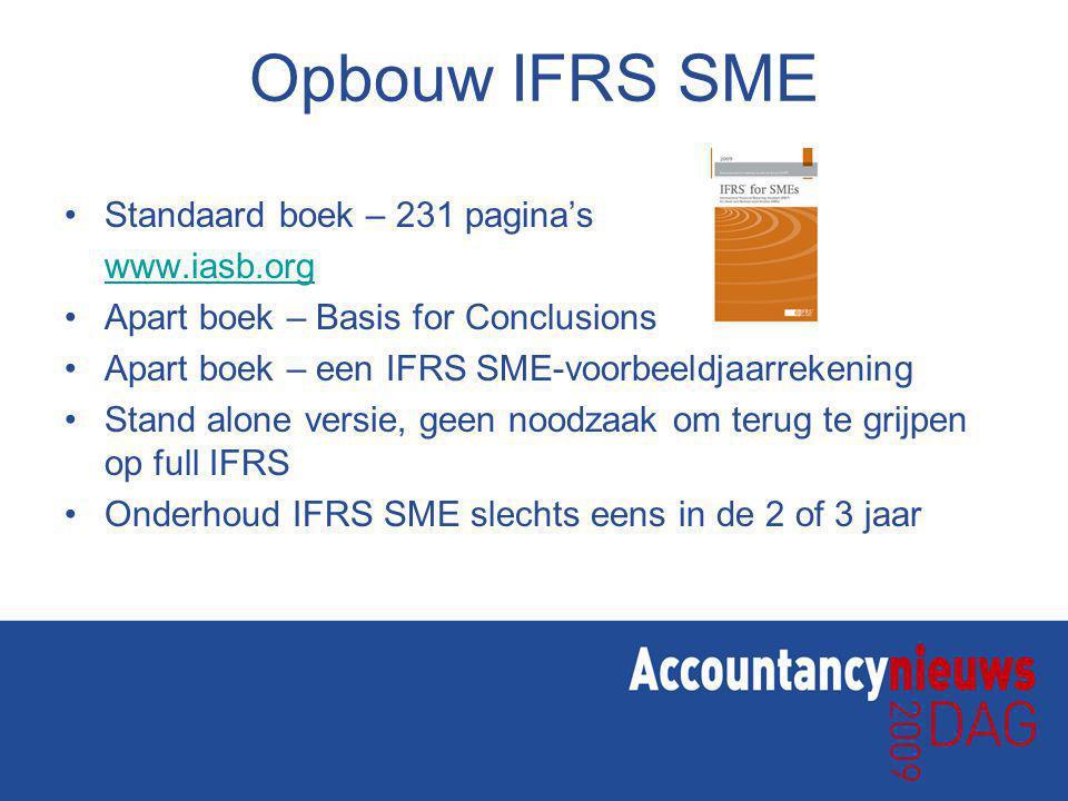 Opbouw IFRS SME Standaard boek – 231 pagina's www.iasb.org