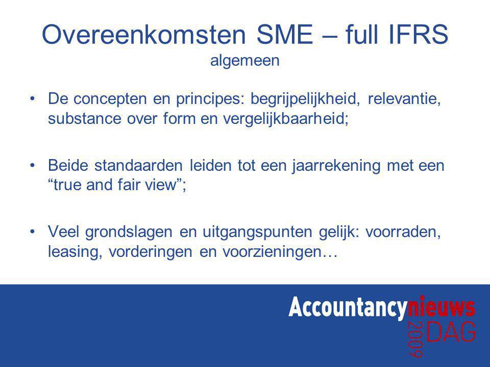 Overeenkomsten SME – full IFRS algemeen