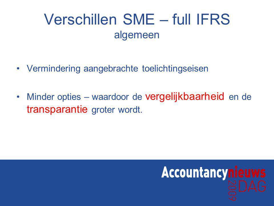 Verschillen SME – full IFRS algemeen