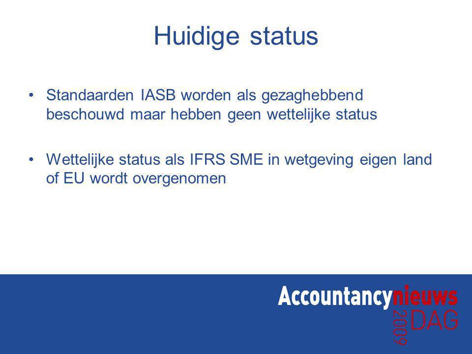 Huidige status Standaarden IASB worden als gezaghebbend beschouwd maar hebben geen wettelijke status.