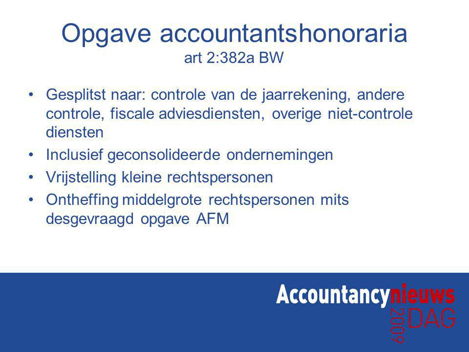 Opgave accountantshonoraria art 2:382a BW