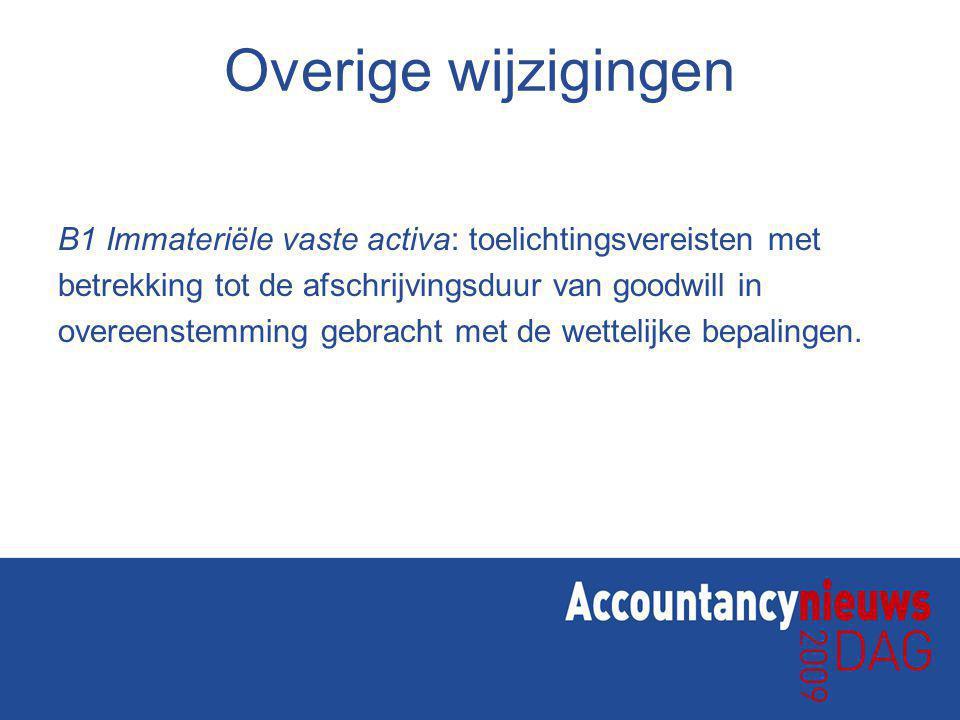 Overige wijzigingen B1 Immateriële vaste activa: toelichtingsvereisten met. betrekking tot de afschrijvingsduur van goodwill in.